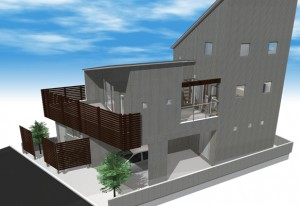 間取りデザイン07|中庭に差し込む自然光を感じる二世帯住宅