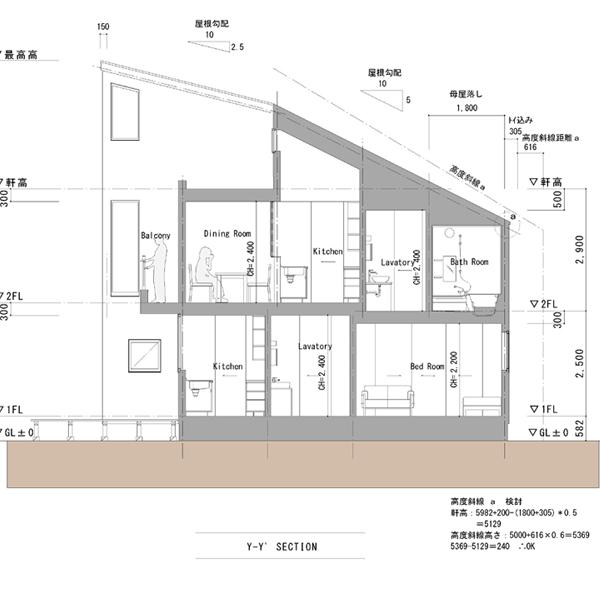東京・西東京の家05|断面図-1|...