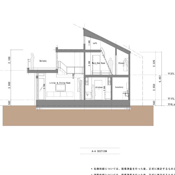 東京・三鷹の家04|断面図|住宅...